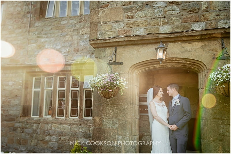 bride and groom at sunset at stirk house