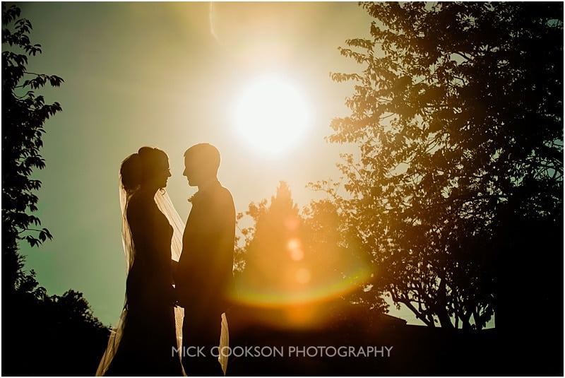 bride and groom silhouette at stirk house