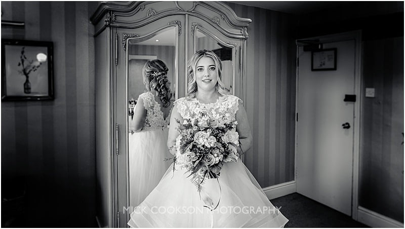 black and white photo of a bride at the shireburn arms
