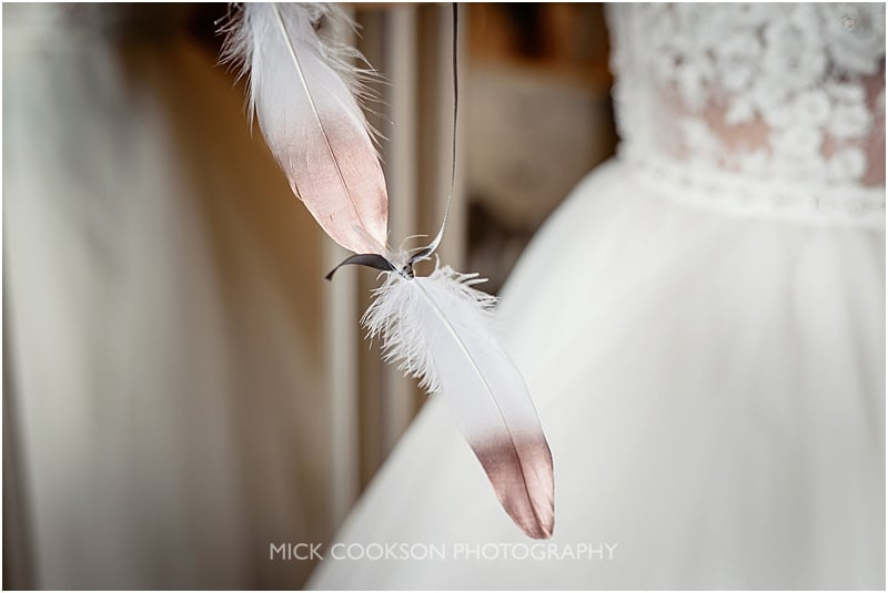 feathers on a wedding bouquet