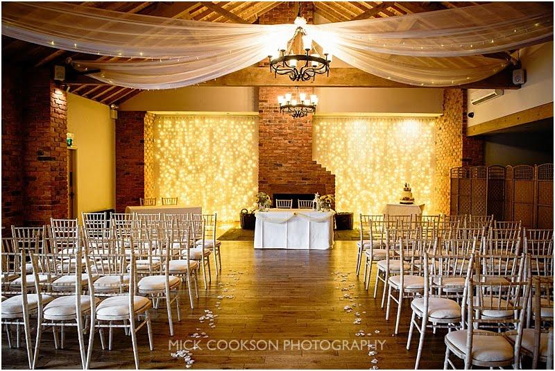wedding ceremony room at charnock farm
