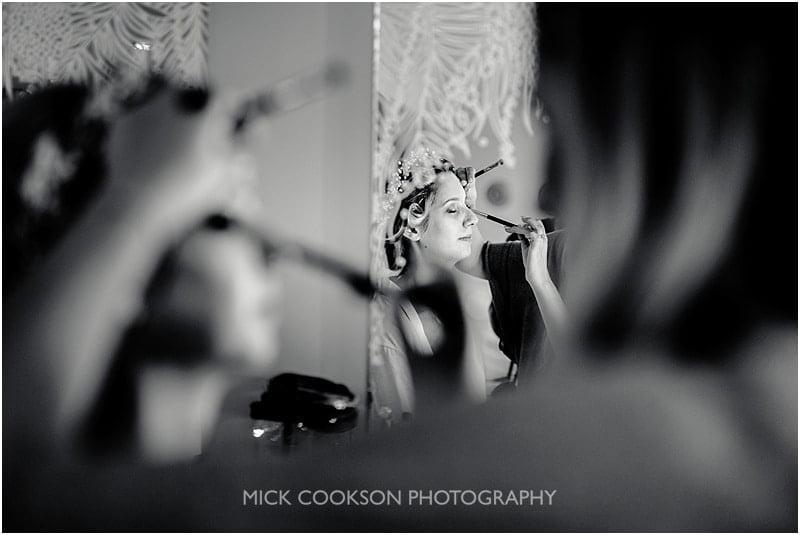 bride reflected in a mirror