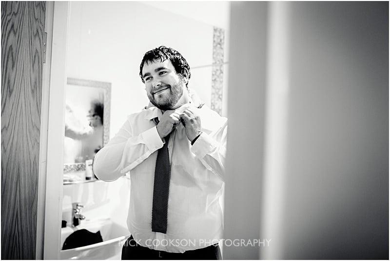 happy groom at charnock farm