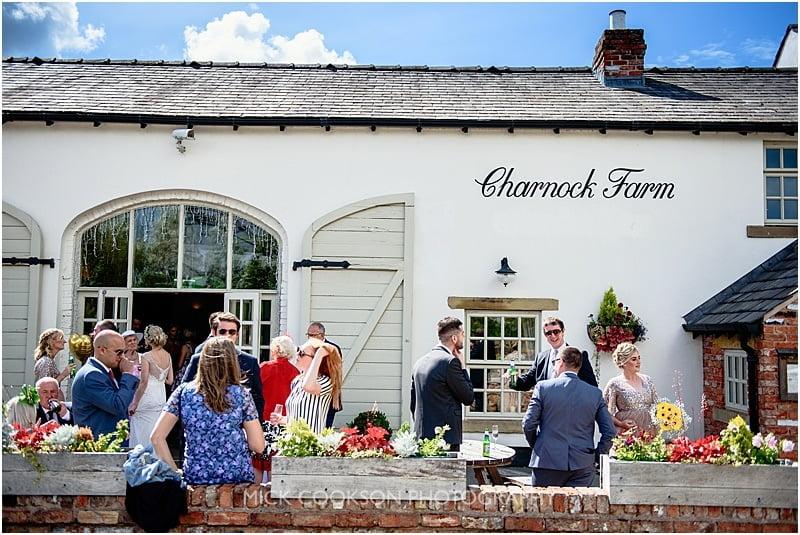 wedding guests at charnock farm