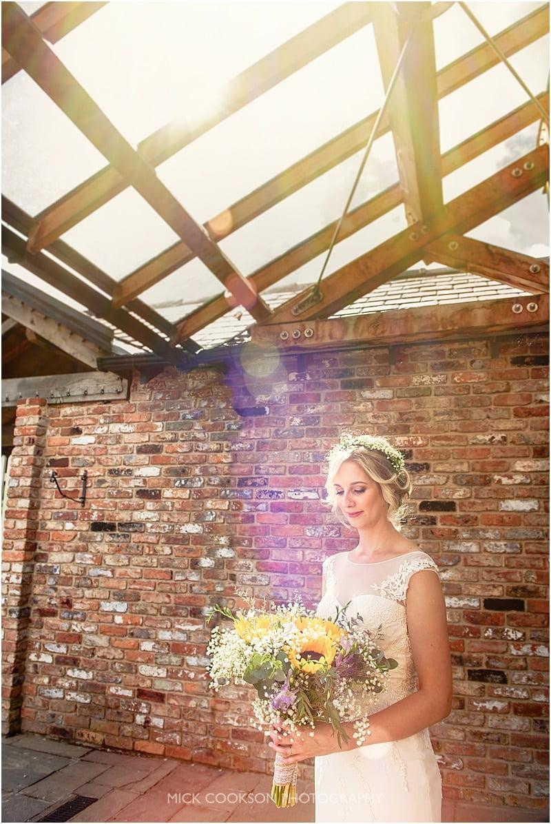 happy bride and sun flare