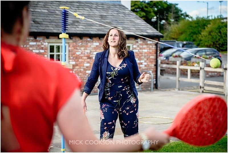 outdoor games at a charnock farm wedding