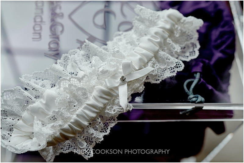wedding garter at colshaw hall