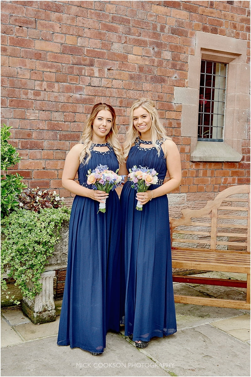 stunning bridesmaids in blue dresses