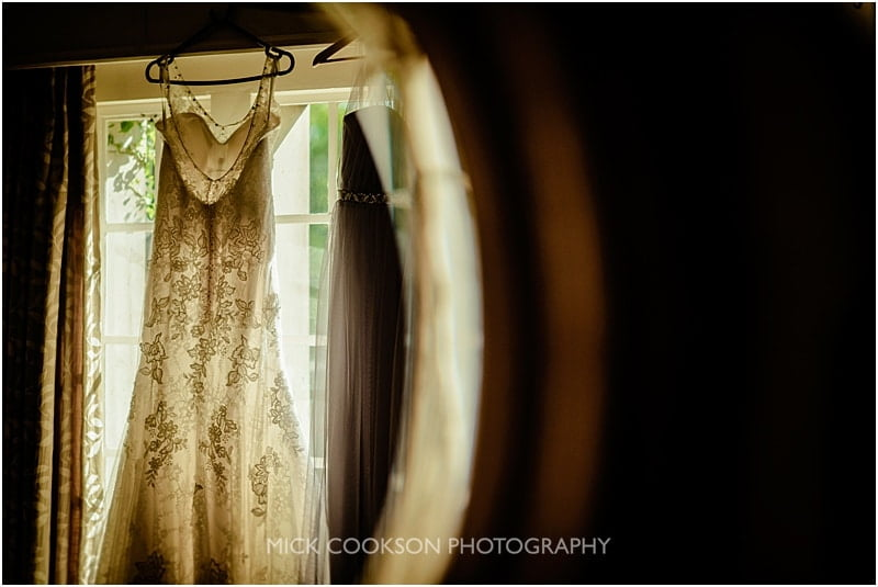 wedding dress hanging at eaves hall