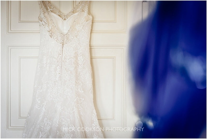 wedding dress detail at an eaves hall wedding