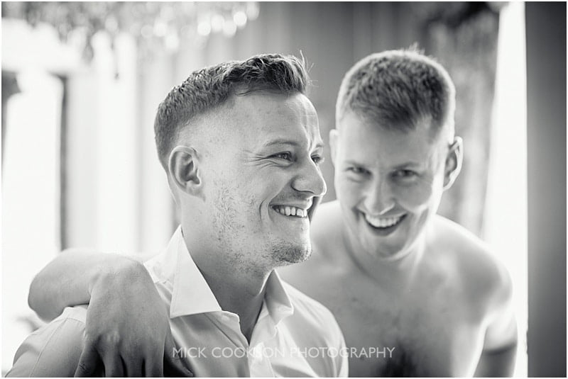 groom and best man at eaves hall