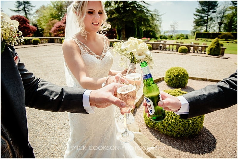 a toast to the happy couple at eaves hall
