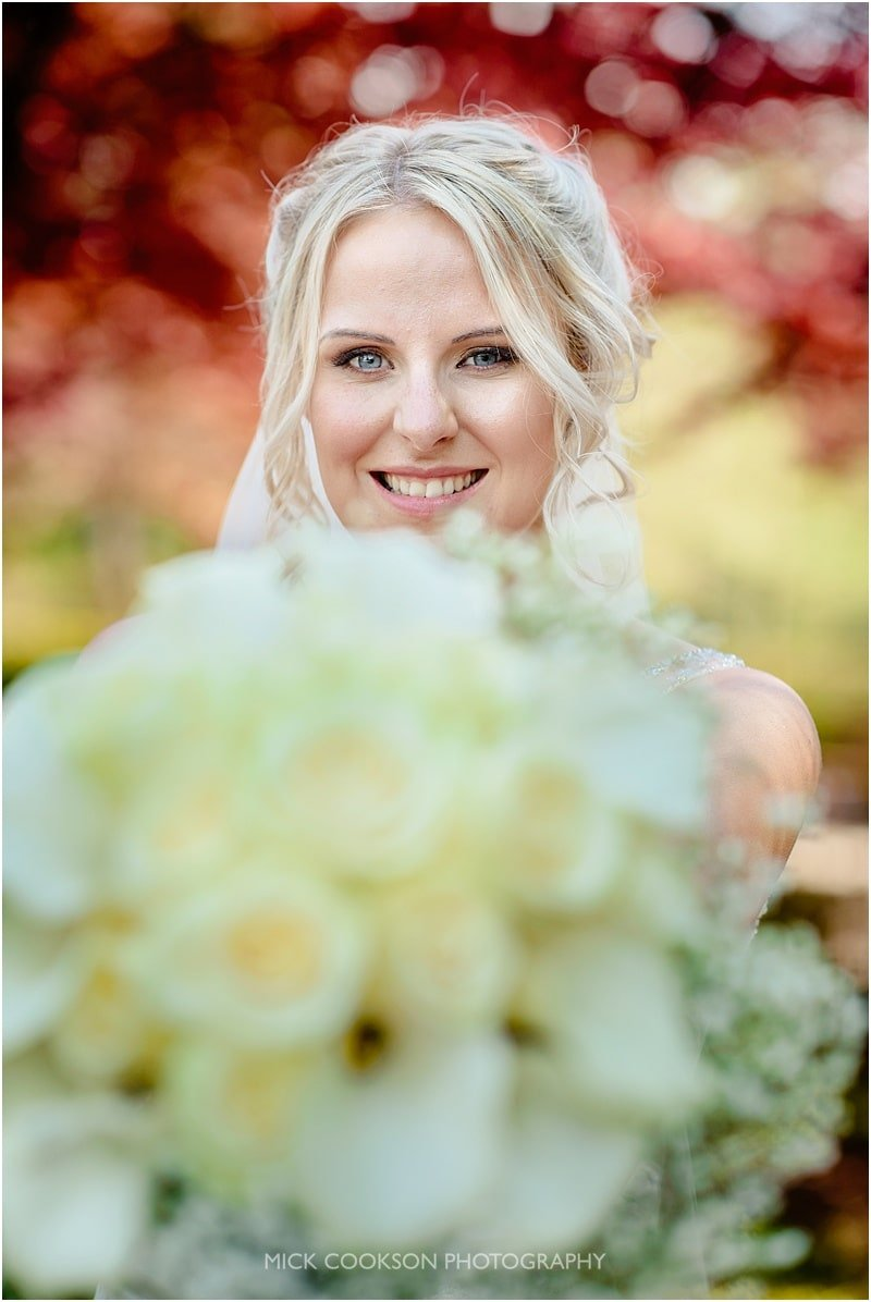 stunning bride with her bouquet at eaves hall