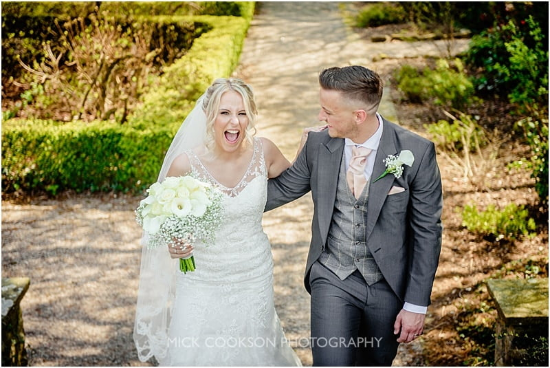 happy bride at eaves hall