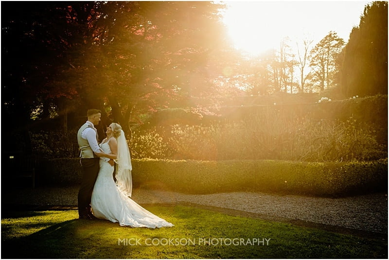 stunning bride and groom sunset photo