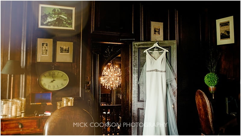 wedding dress hanging up at mitton hall