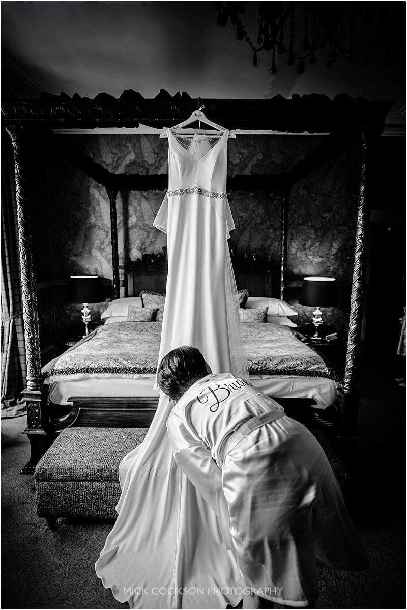 hanging the wedding dress at mitton hall