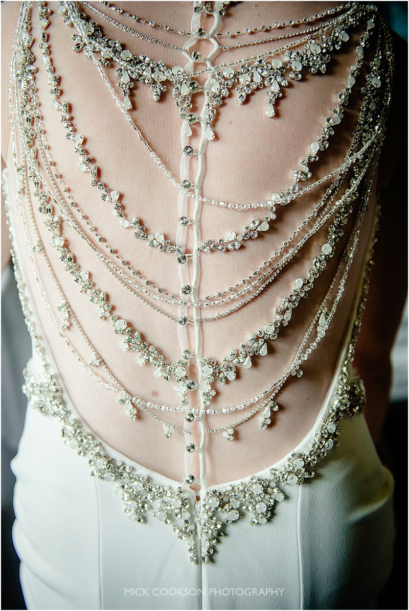 stunning wedding dress detail at a mitton hall wedding