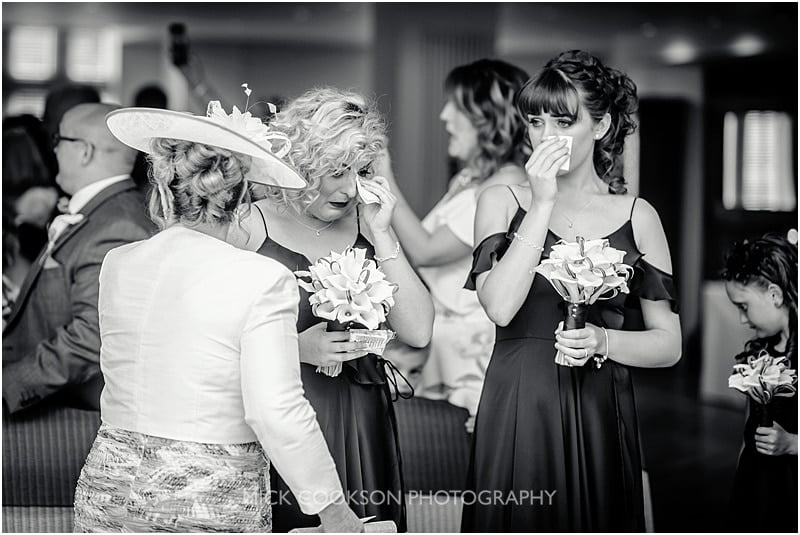 emotional bridesmaids at a mitton hall wedding