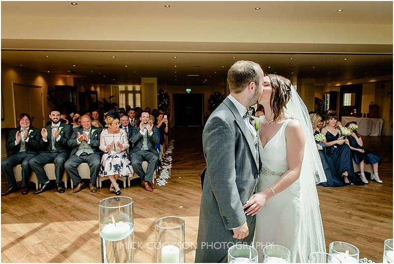 first kiss at a mitton hall wedding