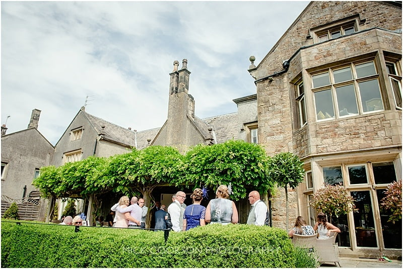 the rear terrace at a mitton hall wedding