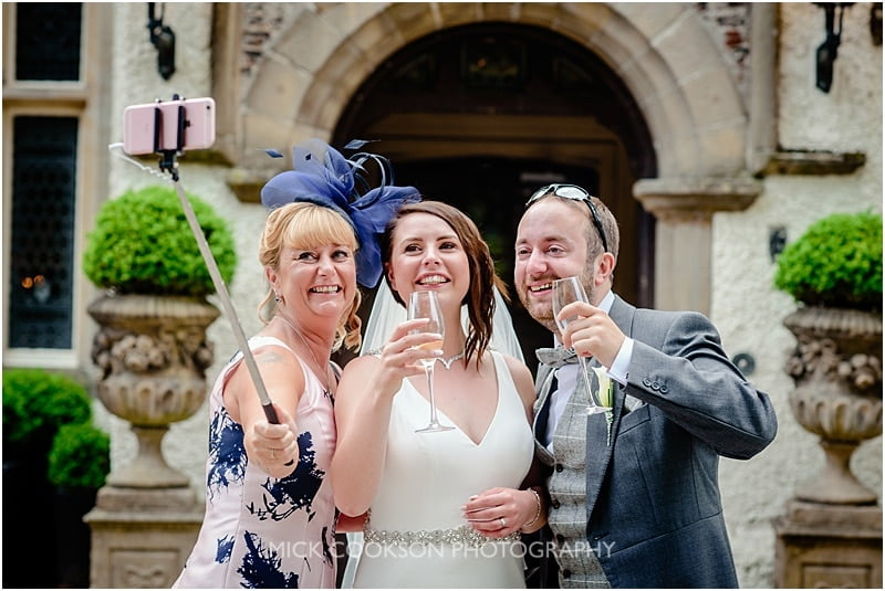 selfie with the bride and groom at mitton hall