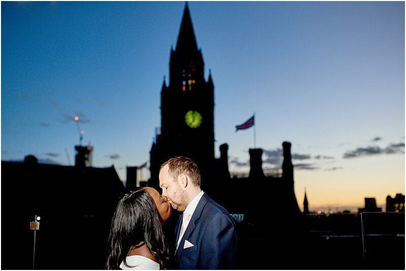 stunning bride and groom winter wedding photo at king street townhouse taken by manchester wedding photographer mick cookson