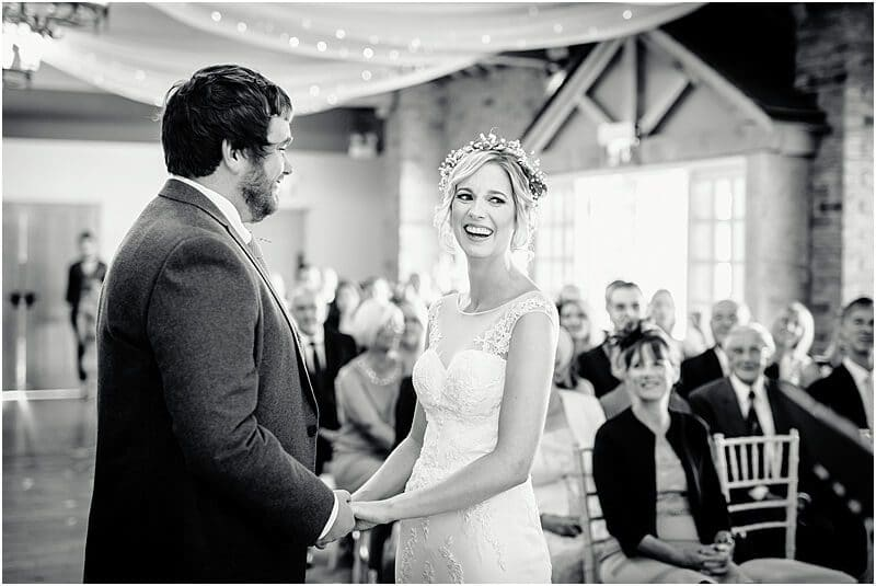 happy bride getting married at charnock farm
