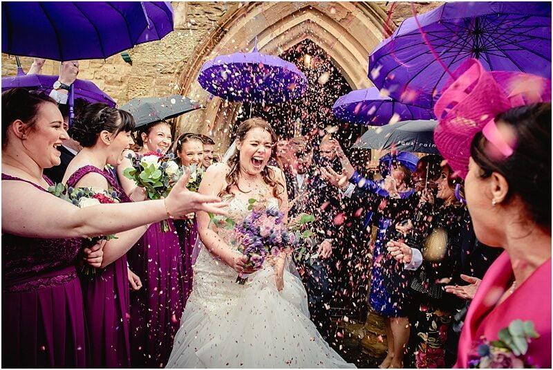 confetti throwing wedding photo in lancashire
