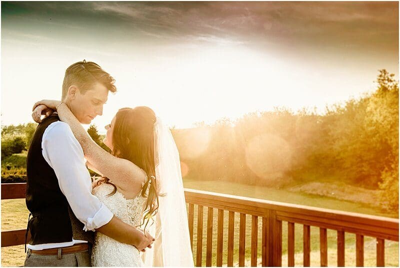 bride and groom in the sun at the fisherman's retreat