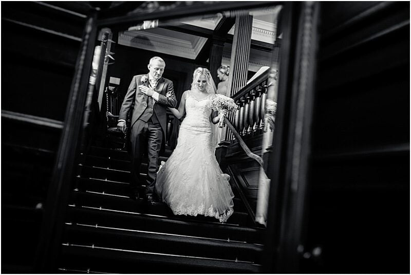 bride and her father at eaves hall