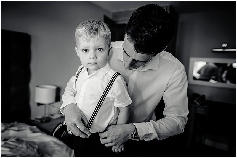 young pageboy getting ready at stirk house