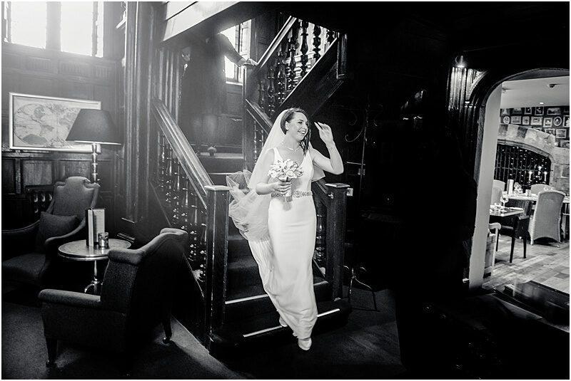 happy bride at mitton hall