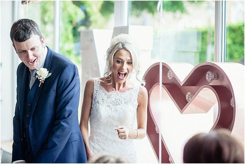 happy bride and groom at hyde bank farm