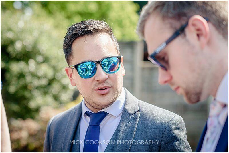 trendy blue sunglasses