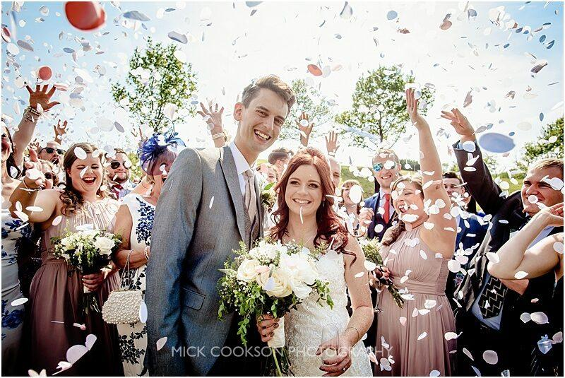 confetti throw at a fishermans retreat wedding