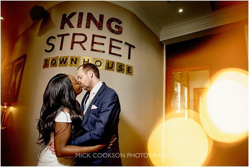 classic bride and groom wedding photo at king street townhouse taken by manchester wedding photographer mick cookson