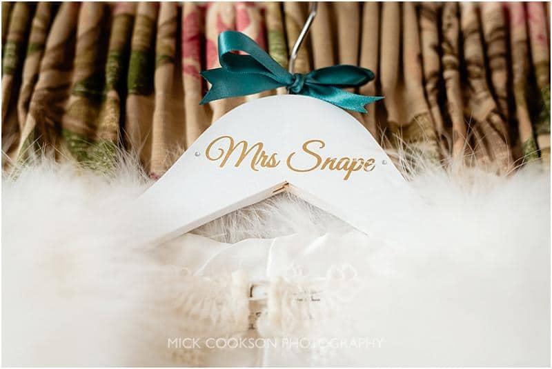 brides name on a dress hanger