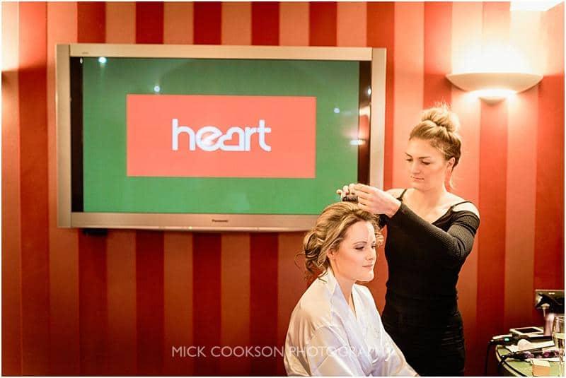 bride preparations at gibbon bridge wedding venue