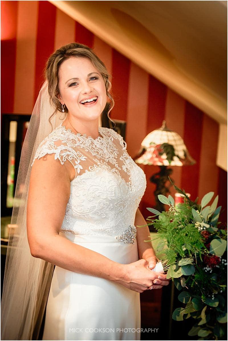 stunning bride photo at gibbon bridge wedding venue