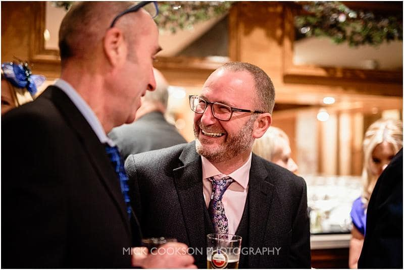 happy guest at a gibbon bridge winter wedding