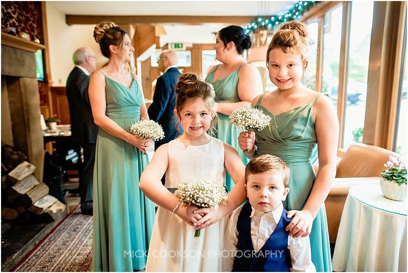 flower girls at agibbon bridge winter wedding
