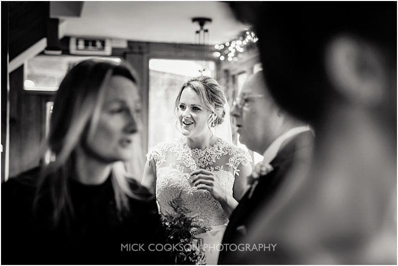 nervous bride at a gibbon bridge winter wedding