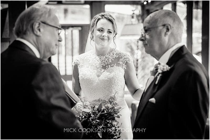 bride and her dad at a gibbon bridge winter wedding