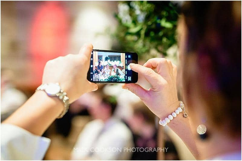 mobile phone at a wedding