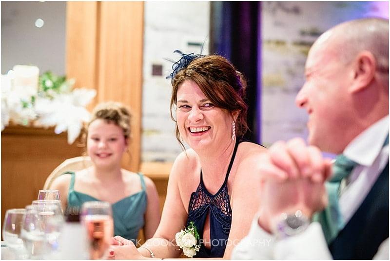 happy mum at a gibbon bridge winter wedding