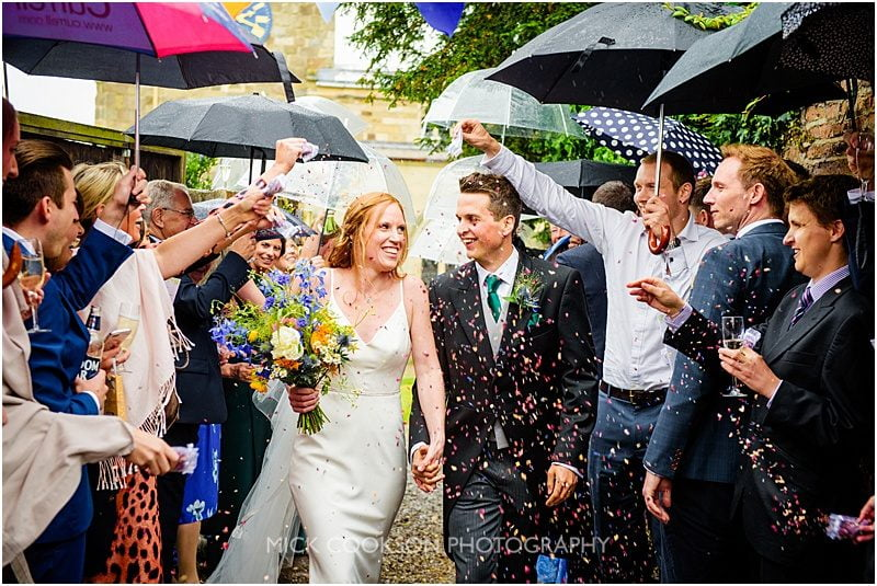 confetti throw at a marquee wedding in york
