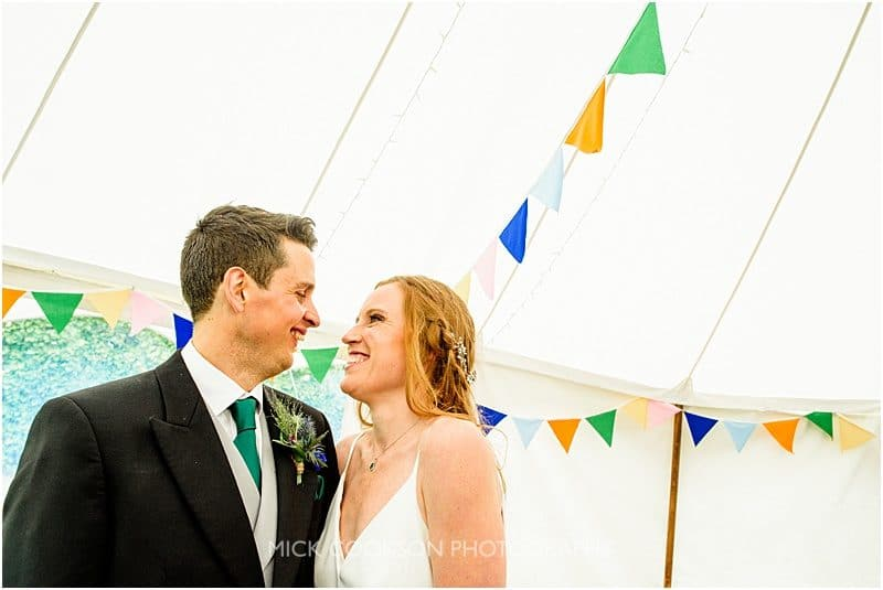 bride and groom at a marquee wedding in york
