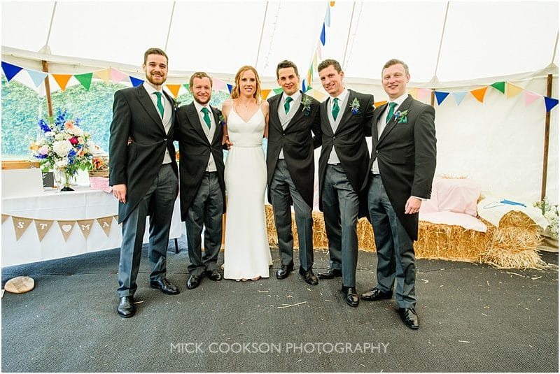 family photo at a marquee wedding in york