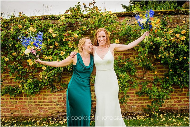 bride and bestie at a marquee wedding in york